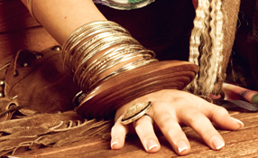 Gold and wood bangles