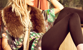 Fur collar and leggings